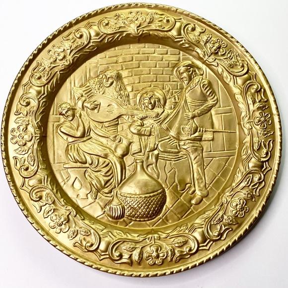 Vintage Brass Round Plate England Large Medieval